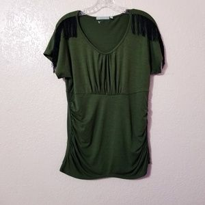 NY Collection Women Green Top Blouse short sleeve